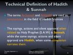 technical definition of hadith sunnah