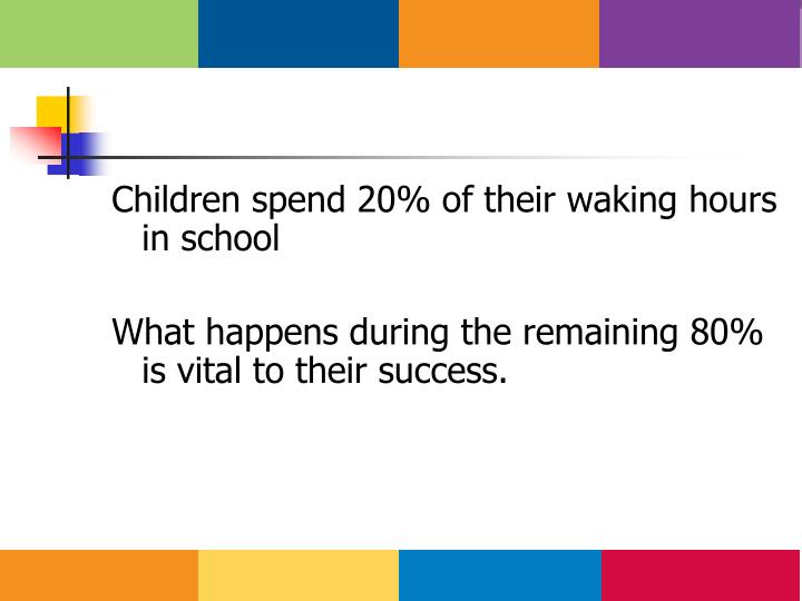 Children spend 20% of their waking hours in school