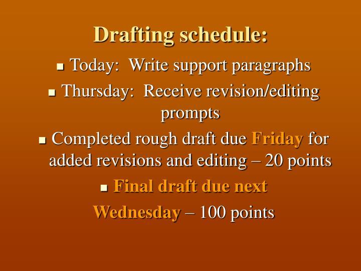 Drafting schedule: