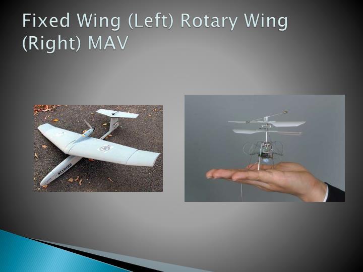 Fixed Wing (Left) Rotary Wing (Right) MAV