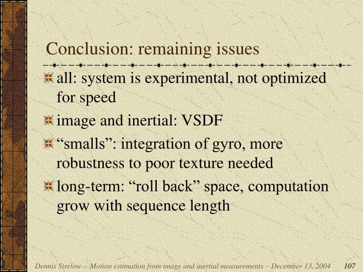 Conclusion: remaining issues