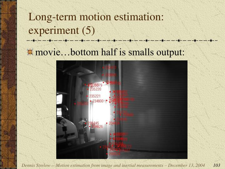Long-term motion estimation: experiment (5)