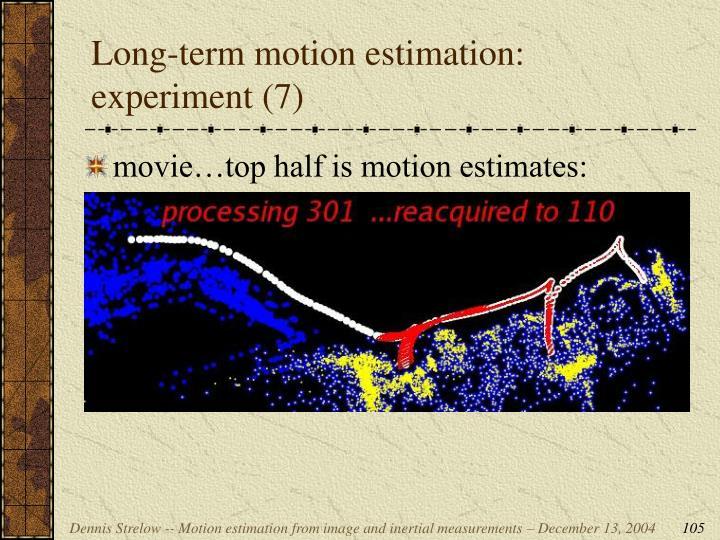 Long-term motion estimation: experiment (7)
