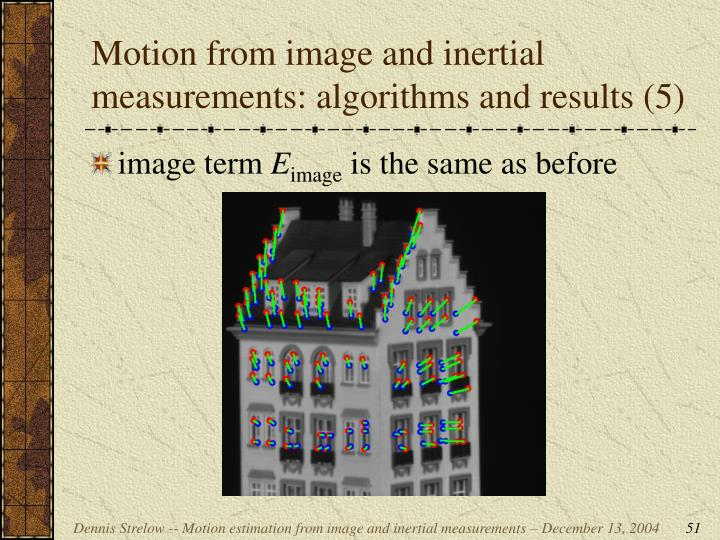 Motion from image and inertial measurements: algorithms and results (5)
