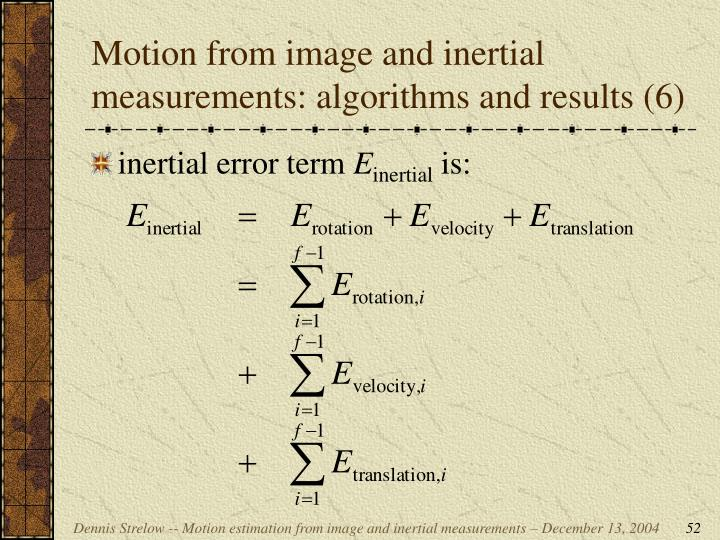 Motion from image and inertial measurements: algorithms and results (6)