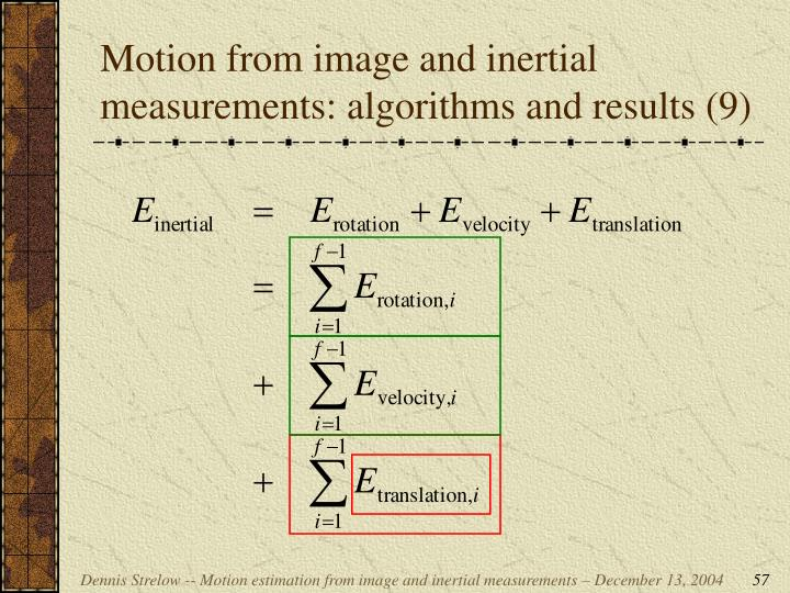 Motion from image and inertial measurements: algorithms and results (9)