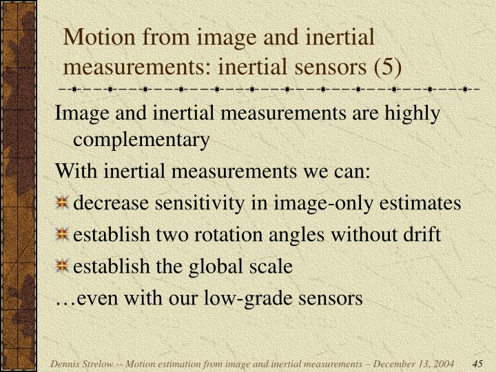 Motion from image and inertial measurements: inertial sensors (5)
