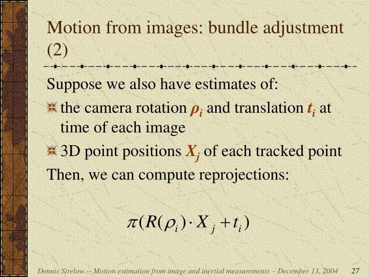 Motion from images: bundle adjustment (2)