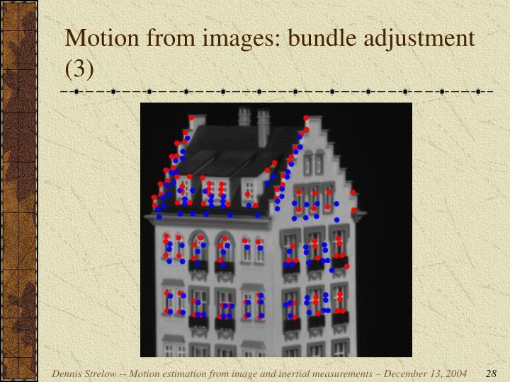 Motion from images: bundle adjustment (3)