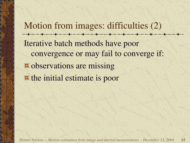 Motion from images: difficulties (2)
