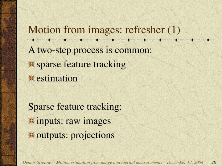 Motion from images: refresher (1)