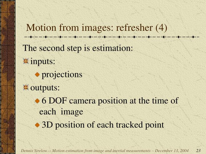 Motion from images: refresher (4)