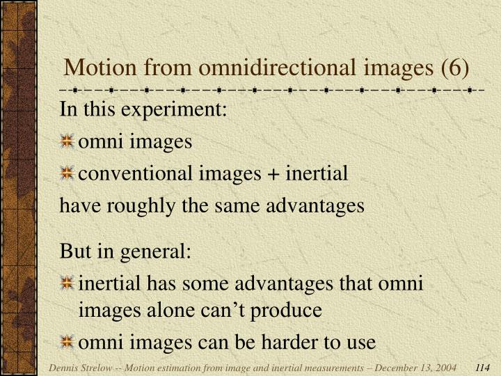 Motion from omnidirectional images (6)