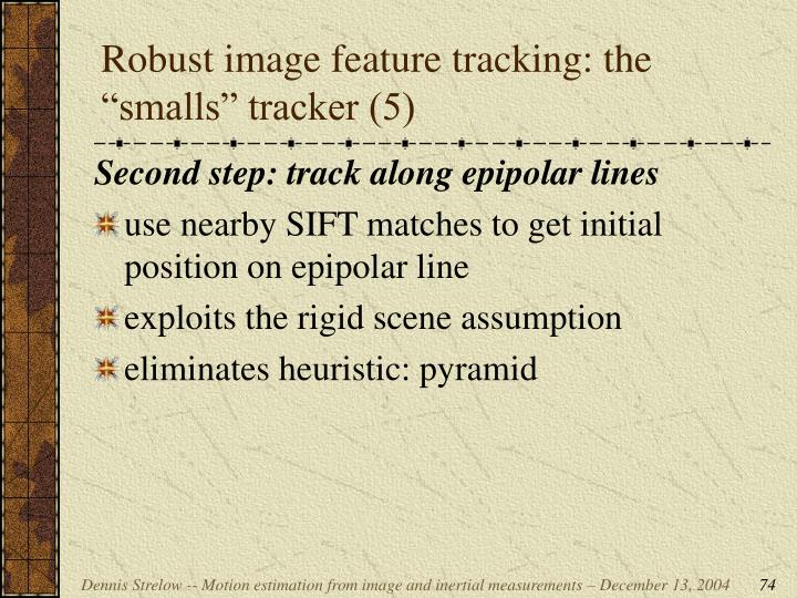 """Robust image feature tracking: the """"smalls"""" tracker (5)"""