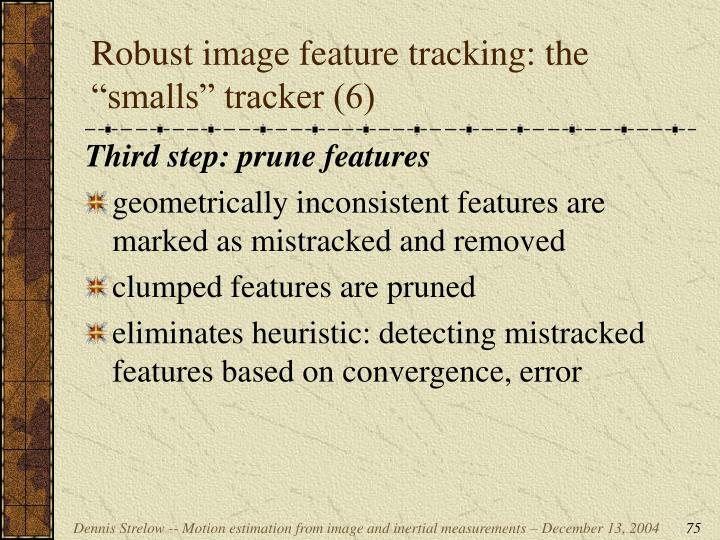 """Robust image feature tracking: the """"smalls"""" tracker (6)"""