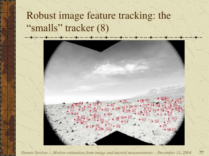 """Robust image feature tracking: the """"smalls"""" tracker (8)"""