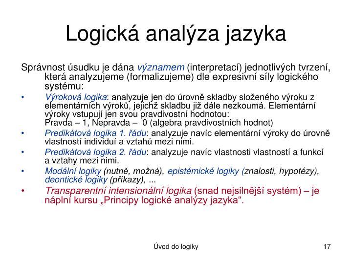 Logická analýza jazyka