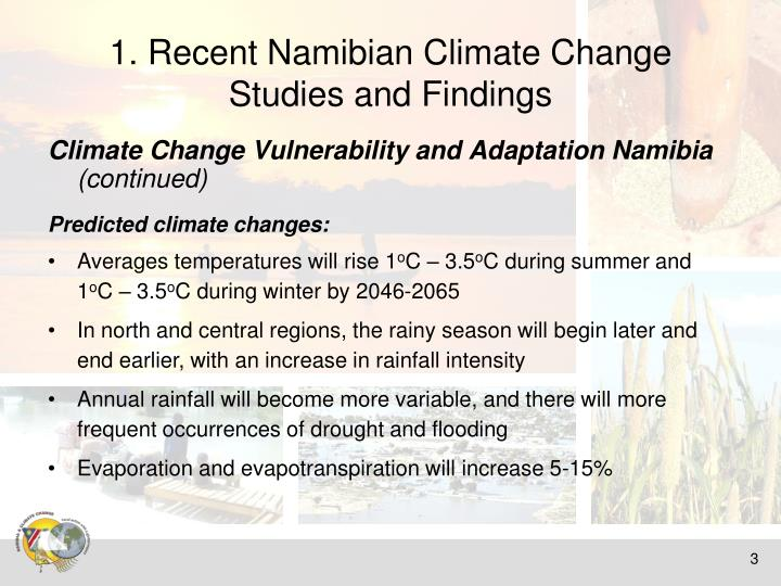 1 recent namibian climate change studies and findings1