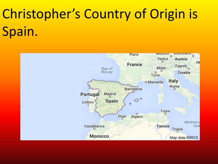 Christopher's Country of Origin is