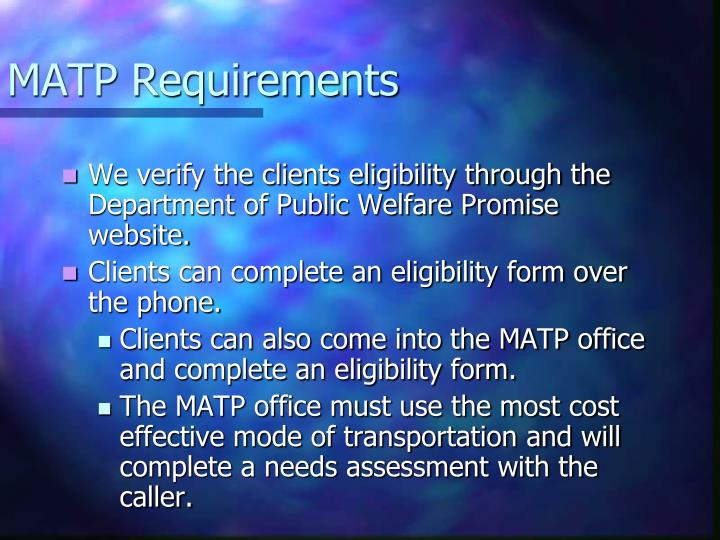 Matp requirements1