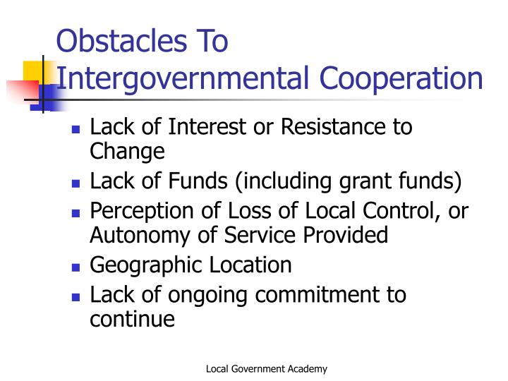 Obstacles To Intergovernmental Cooperation