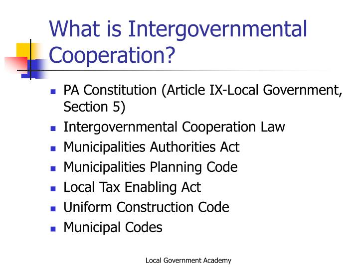 What is intergovernmental cooperation