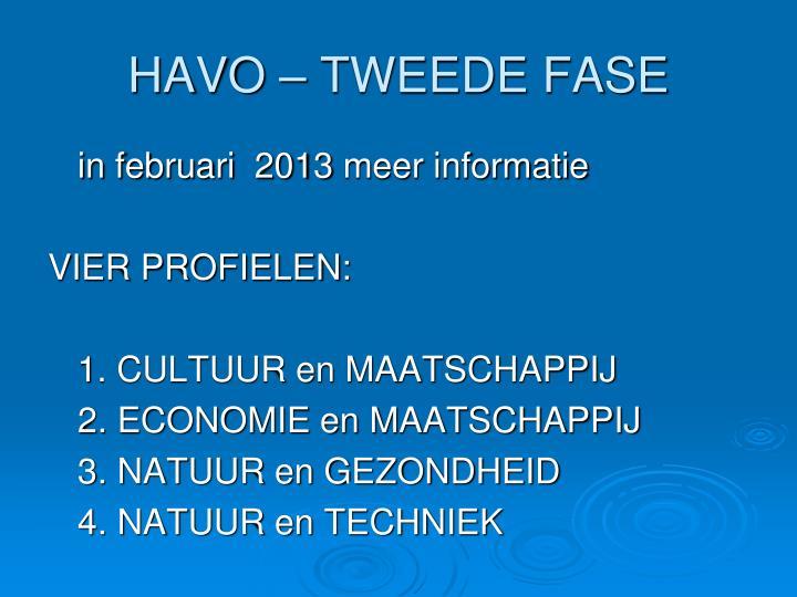 HAVO – TWEEDE FASE