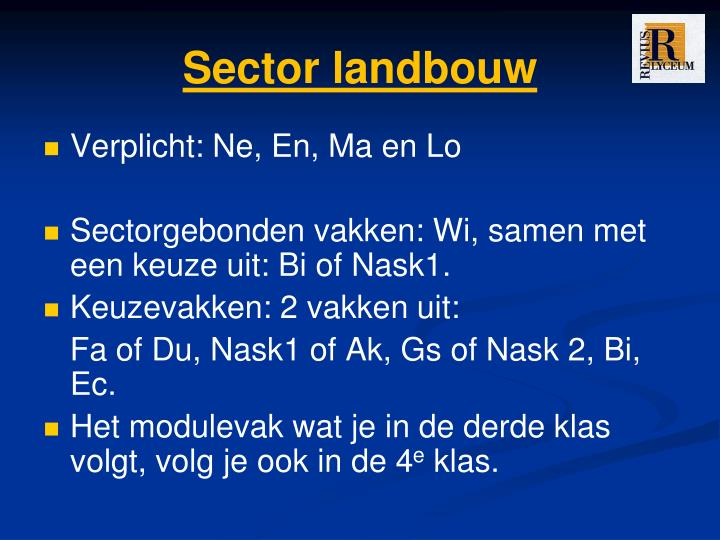Sector landbouw