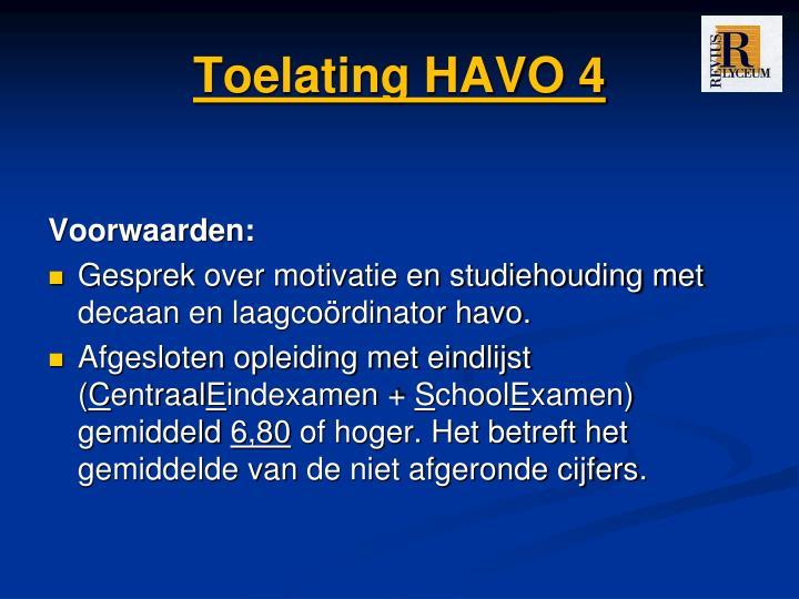 Toelating HAVO 4