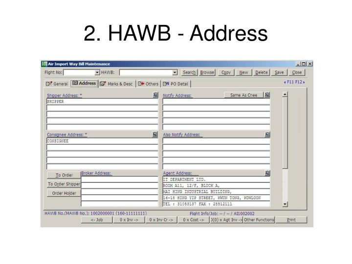 2. HAWB - Address