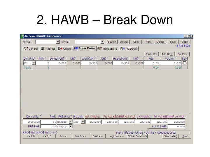 2. HAWB – Break Down