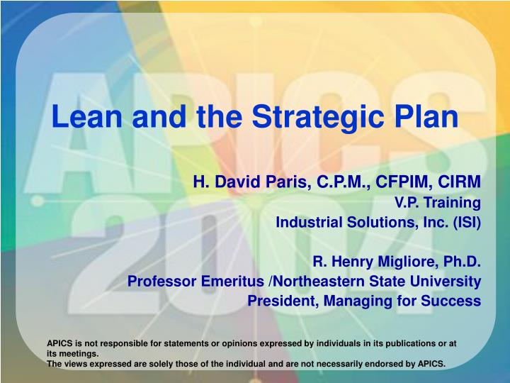 Lean and the strategic plan