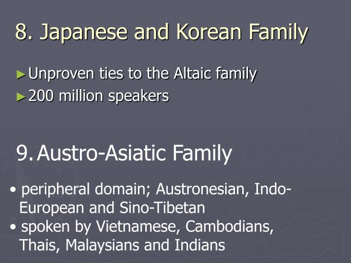 8. Japanese and Korean Family