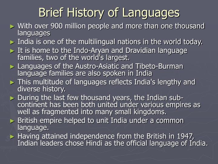 Brief History of Languages