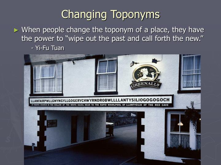 Changing Toponyms