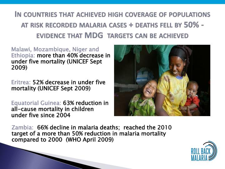 In countries that achieved high coverage of populations at risk recorded malaria cases + deaths fell by 50% - evidence that MDG  targets can be achieved