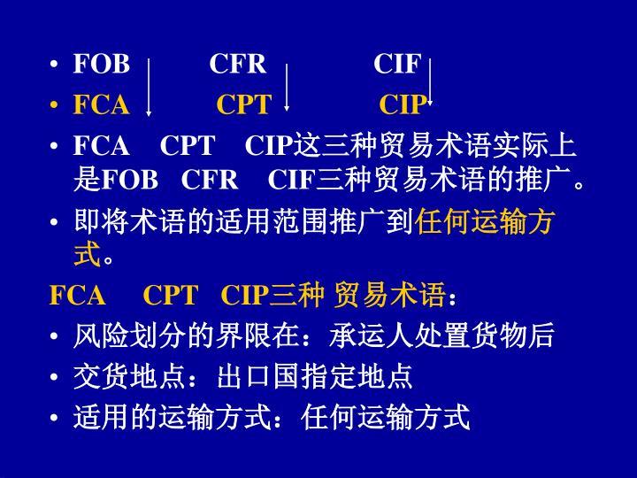 FOB           CFR               CIF