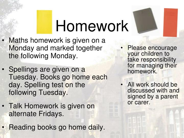 Please encourage your children to take responsibility for managing their homework.
