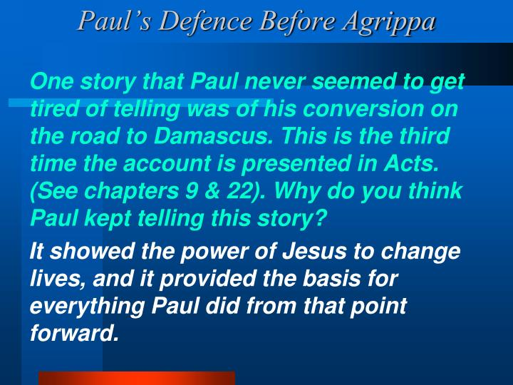 Paul's Defence Before Agrippa