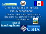 chemical safety in the lab risk management