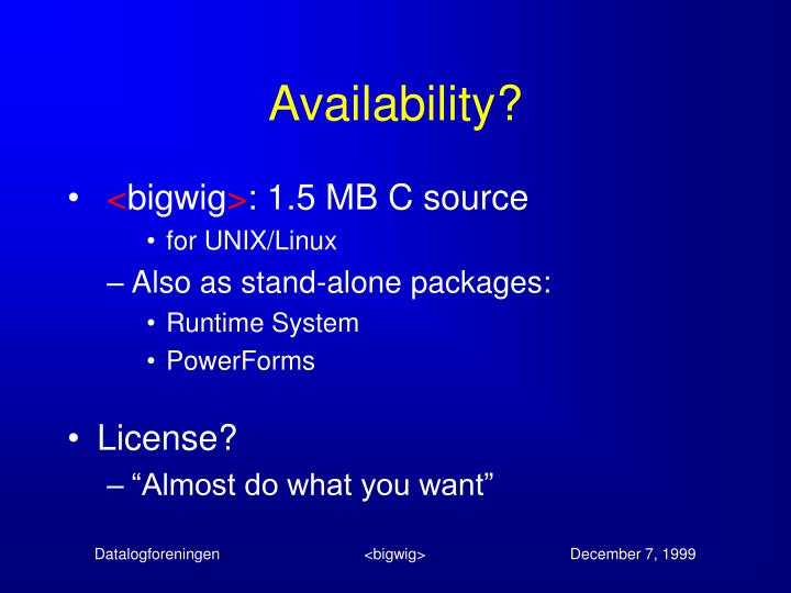 Availability?