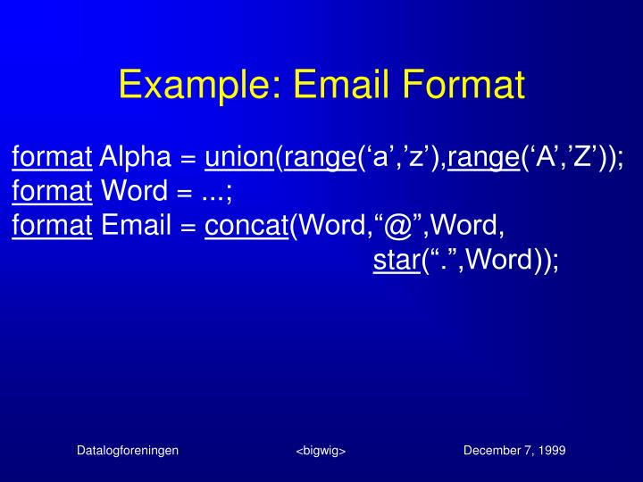 Example: Email Format