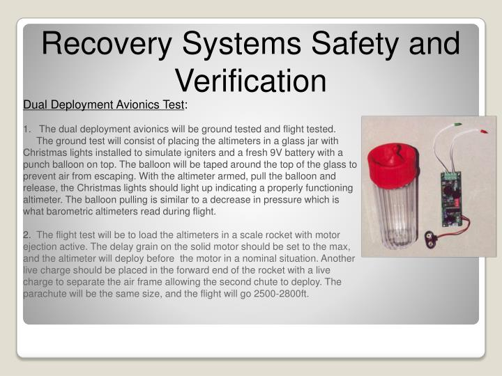 Recovery Systems Safety and Verification
