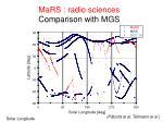 mars radio sciences comparison with mgs