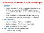 observation of aerosol at solar wavelengths