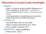 observation of aerosol at solar wavelengths1