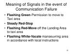meaning of signals in the event of communication failure