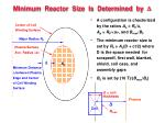 minimum reactor size is determined by