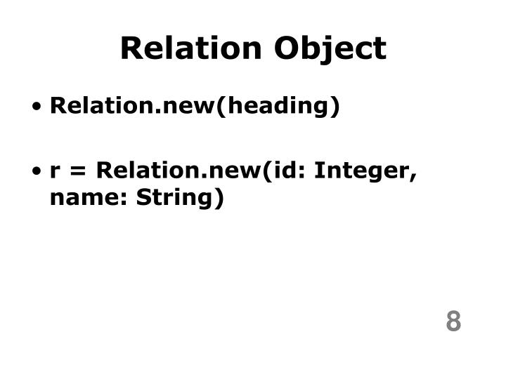 Relation Object