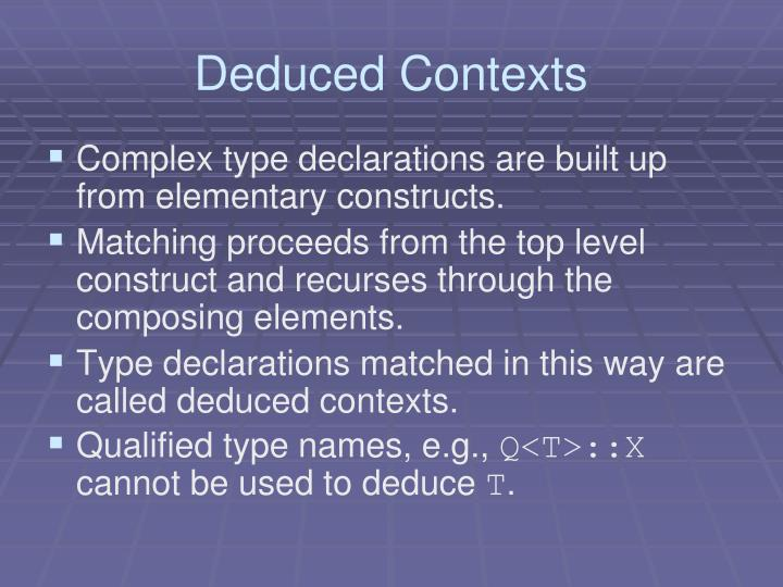 Deduced Contexts